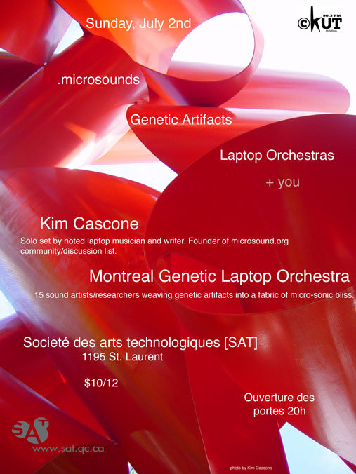 Montreal Genetic Laptop Orchestra LIVE SAT Flyer