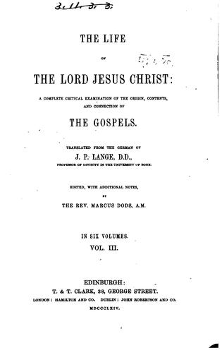 The Life of the Lord Jesus Christ
