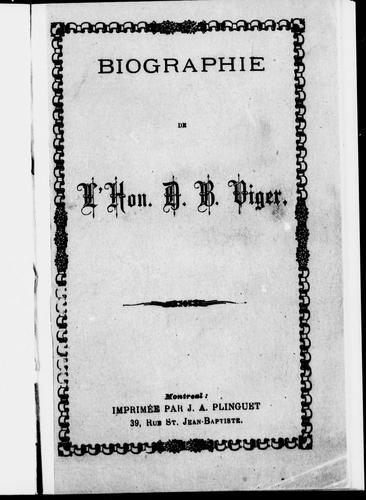 Download Biographie de l'Hon. D.B. Viger
