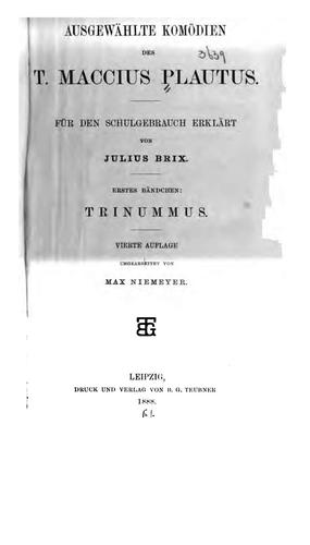 Ausgewählte Komödien des T. Maccius Plautus