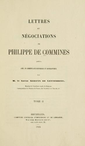 Lettres et négociations de Philippe de Commines