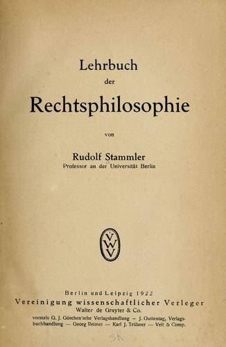 Lehrbuch der rechtsphilosophie