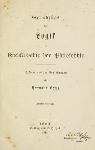 Download Grundzüge der Logik und Encyklopädie der Philosophie