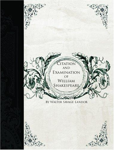 Download Citation and Examination of William Shakspeare  (Large Print Edition)