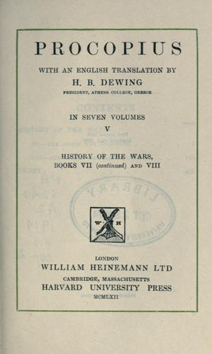 Procopius, with an English translation by H.B. Dewing