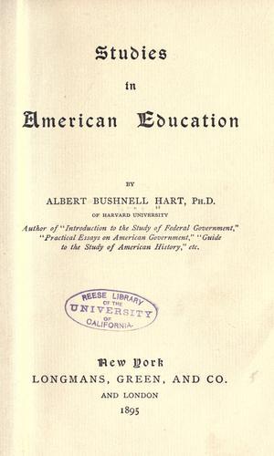 Download Studies in American education