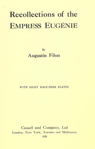 Download Recollections of the Empress Eugénie