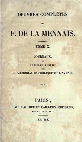 OEuvres complètes de F. de la Mennais.