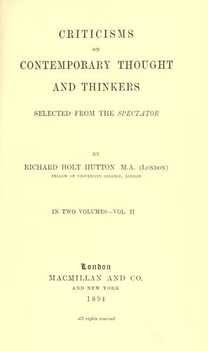 Criticisms on contemporary thought and thinkers