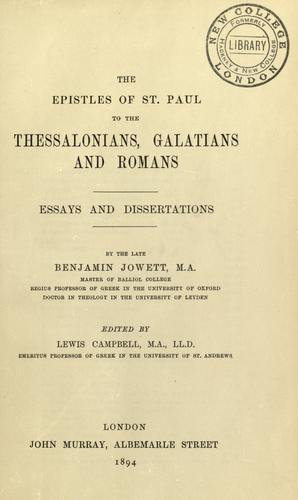 The Epistles of St. Paul to the Thessalonians, Galatians and Romans