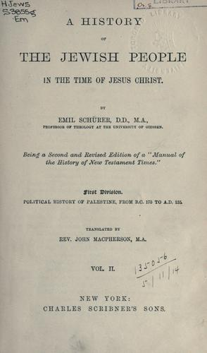 Download A history of the Jewish people in the time of Jesus Christ