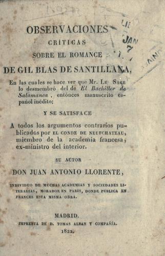 Observaciones criticas sobre el romance de Gil Blas de Santillana