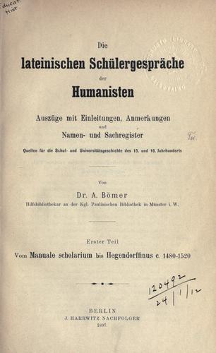 Download Die lateinischen Schülergespräche der Humanisten.