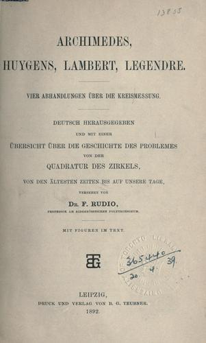 Archimedes, Huygens, Lambert, Legendre.