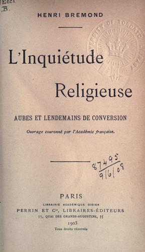 Download L' Inquiétude religieuse