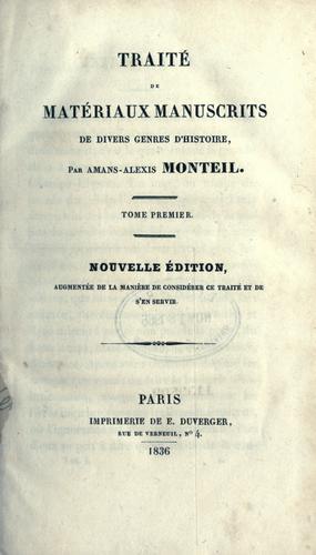 Download Traité de matériaux manuscrits de divers genres d'histoire.