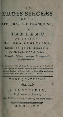 Download Les trois siècles de la littérature françoise