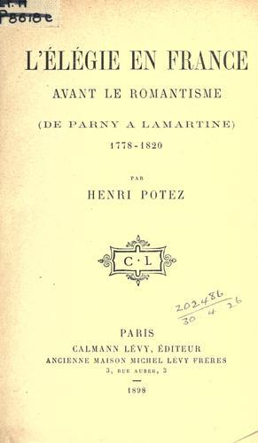 L' élégie en France avant le romantisme