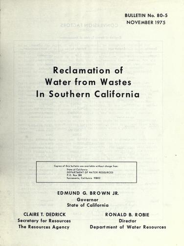Download Reclamation of water from wastes in southern California.