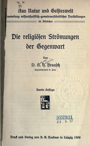 Download Die religiösen Strömungen der Gegenwart.