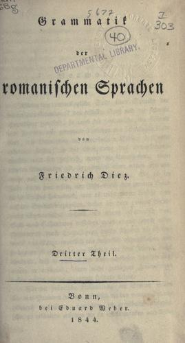 Download Grammatik der romanischen Sprachen.