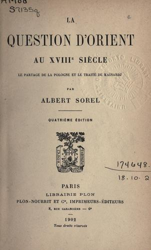Download La question d'Orient au XVIIIe siècle
