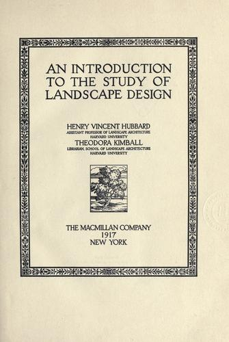 An introduction to the study of landscape design