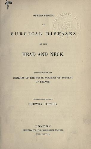 Download Observations on surgical diseases of the head and neck.