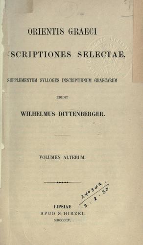 Orientis graeci inscriptiones selectae.