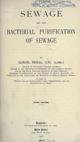 Sewage and the bacterial purification of sewage.