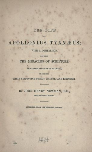 The life of Apollonius Tyanaeus