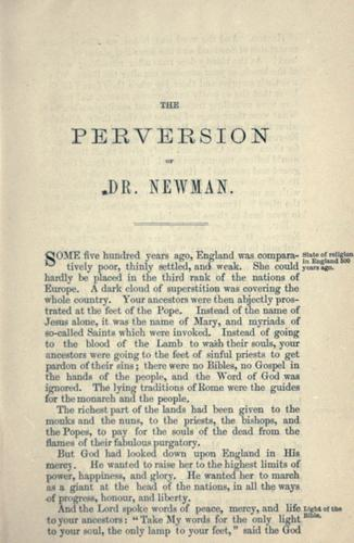 Download The perversion of Dr. Newman to the church of Rome
