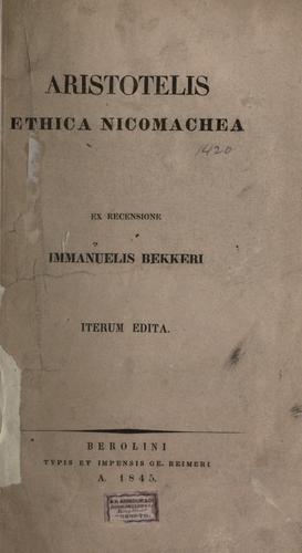 Ethica Nicomachea.
