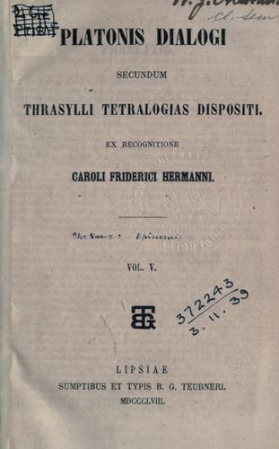 Dialogi, secumdum Thrasylli Tetralogias dispositi