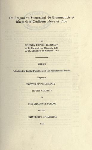 De fragmenti Suetoniani De grammaticis et rhetoribus codicum nexu et fide.