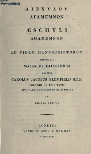 Aischylou Agamemnon.