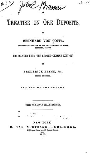 A Treatise on Ore Deposits by Bernhard Von Cotta