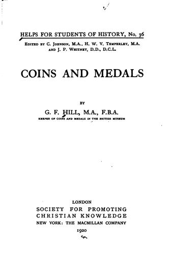 Coins and Medals by Sir George Francis Hill