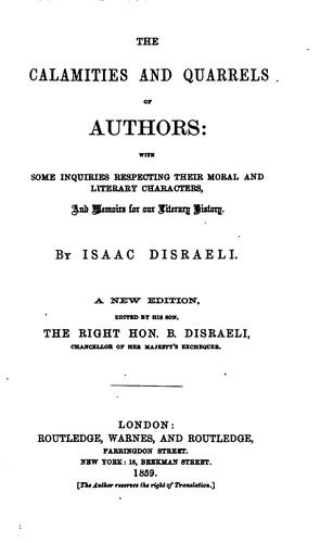 The Calamities & Quarrels of Authors by Isaac Disraeli