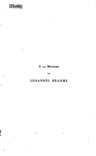 Johannès Brahms: sa vie et son oeuvre by Hugues Imbert