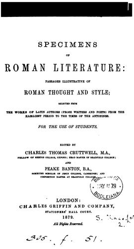 Specimens of roman literature by Charles Thomas Cruttwell M.A