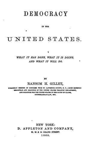Democracy in the United States by Ransom H. Gillet