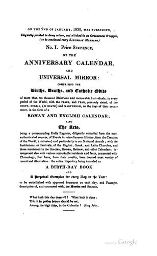 The anniversary calendar, natal book, and universal mirror by Anniversary calendar