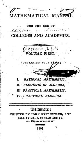 Mathematical Manual for the Use of Colleges and Academies by L. I. M. Chevigné