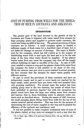 Cost of Pumping from Wells for the Irrigation of Rice in Louisiana and Arkansas by William Benjamin Gregory