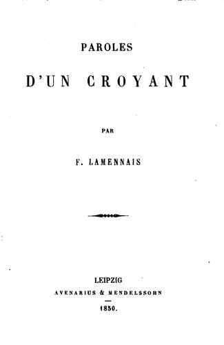 Paroles d'un croyant by Félicité Robert de Lamennais
