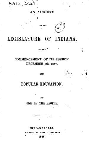 An Address to the Legislature of Indiana by Caleb Mills