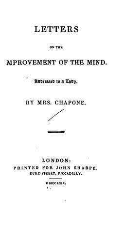 Letters on the Improvement of the Mind by Chapone (Hester)