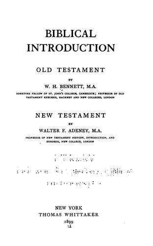 Biblical Introduction: Old Testament by William Henry Bennett