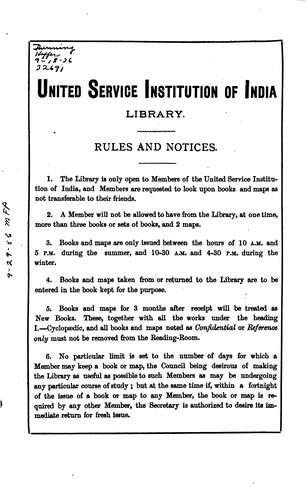Catalogue of the United Service Institution of India Library by United Service Institution of India Library